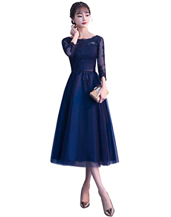 DGYU DN Womens Navy Blue Long Sleeve Appliques Evening Dresses A-Line Tea-Length