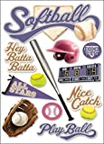 Paper House Productions STDM-0063E 3D Cardstock Stickers, Softball