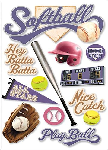 Cardstock Stickers Scrapbook Phrases - Paper House Productions STDM-0063E 3D Cardstock Stickers, Softball