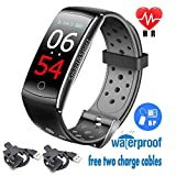 Fitness Tracker Deep Waterproof Smart Watch Double colored Wristband Heart Rate Monitor Oxygen Blood Pressure Test Sport Sleep Outdoor Swimming Run Pedometer Men Women Kids Bluetooth IOS Android phone