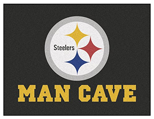 Pittsburgh Steelers Rug (Pittsburgh Steelers Man Cave Deluxe Mat 34 x 42 - Pittsburgh Steelers Home Decor)