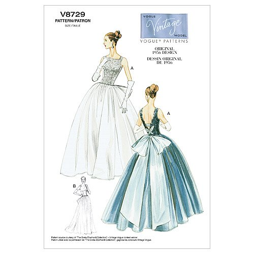 1950s Sewing Patterns | Dresses, Skirts, Tops, Mens 1956 Vogue Vintage Model Pattern V8729 Misses Original 1956 Design Dress and Underskirt Sizes 14-16-18-20 $16.50 AT vintagedancer.com