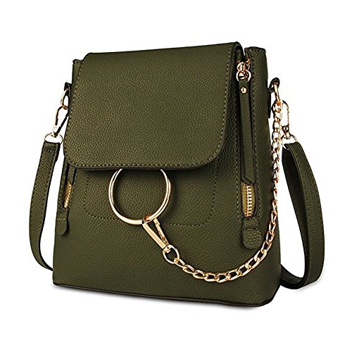 Small women Crossbody Purse Green Backpack Chain Women Leather Pu Bag Designer for Shoulder BABORRY X6AR4SwqR