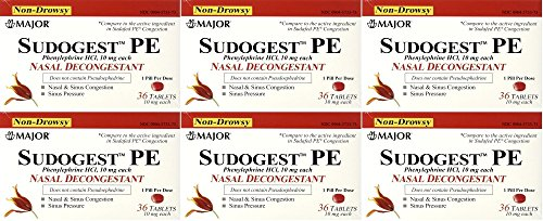 Sudogest PE Generic for Sudafed PE Nasal Decongestant Phenylephrine HCl 10mg Tablets t 6 Packs of 36-count Total 216 Tablet