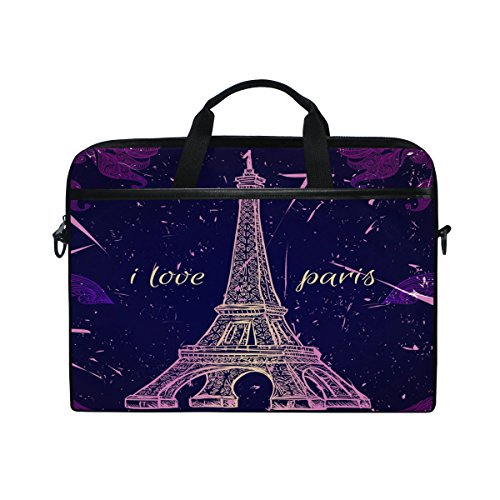 ALAZA Retro Vintage Paris Eiffel Tower Purple 15 inch Laptop Shoulder Messenger Bag Case Sleeve Briefcase with Shoulder Strap Handle for Women Men Girls Boys, Valentine