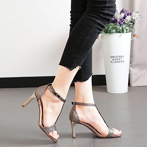 KPHY-Zapatos de mujerSandalias mujerSandalias mujerSandalias De Verano Rough Lentejuelas T-Buttons 8Cm Tacones Altos Salvaje Moda Banquete Hollow Damas Zapatos.Treinta Y Cinco Oro ebea8c