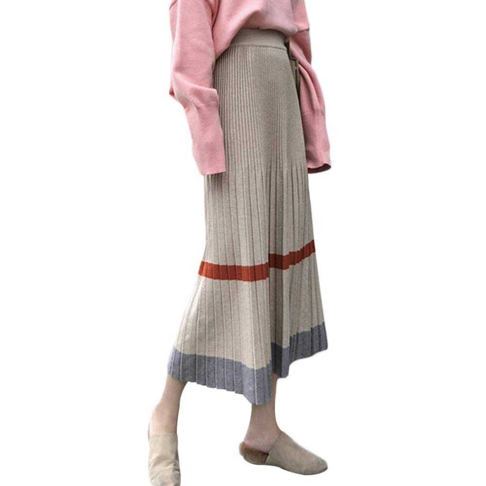 115aaf6de4 CrazyTiger Women's Elastic High Waist A-line Skirt Flared Stripe Knitted  Long Midi Skirts Women Clothing (Color : Apricot, Size : OneSize) at Amazon  Women's ...