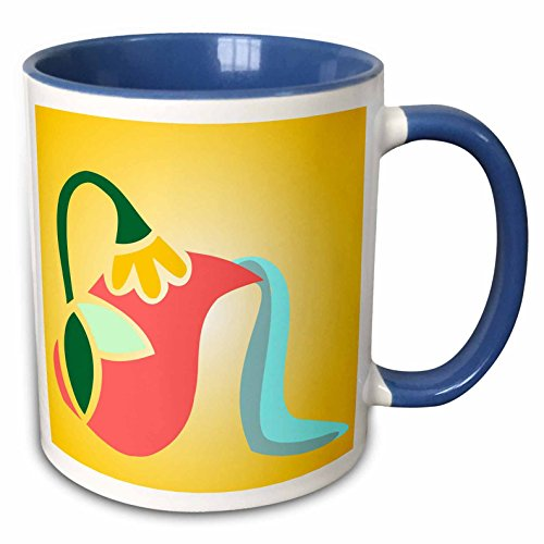 3dRose TNMGraphics Food and Drink - Flowered Greek Pitcher Pouring Water - 15oz Two-Tone Blue Mug (mug_222927_11)