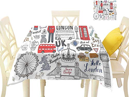 Angoueleven Doodle,Printed Tablecloth I Love London Double Decker Bus Telephone Booth Cab Crown of United Kingdom Big Ben,Washable Tablecloth Dinner W 70