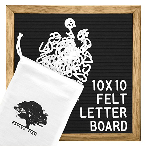Black Felt Letter Board: 10x10 Inches, Message Board Sign, Changeable Letter Boards, Oak Wood Frame, 344 Letters, Numbers, Emojis & Punctuation - FREE Cotton Bag, Scissors, Wooden Stand & Wall (Nursery Sign Board)