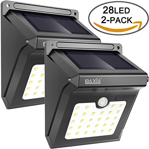 28 LED Solar Motion Sensor Security Wall Lights-BAXIA TECHNOLOGY Waterproof Wireless Bright LED Light for Outdoor Gate, Door, Driveway, Garden, Patio, Yard(2 Packs)