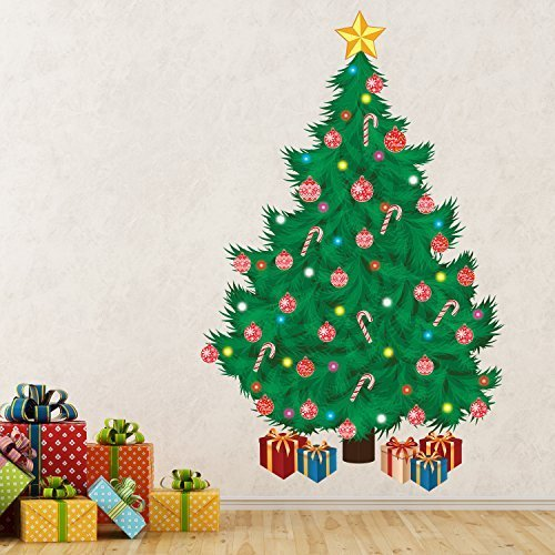 Great Wallflexi Christmas Decorations Wall Stickers U0026quot; Traditional Christmas  Tree U0026quot; Wall Murals Decals Living Part 18