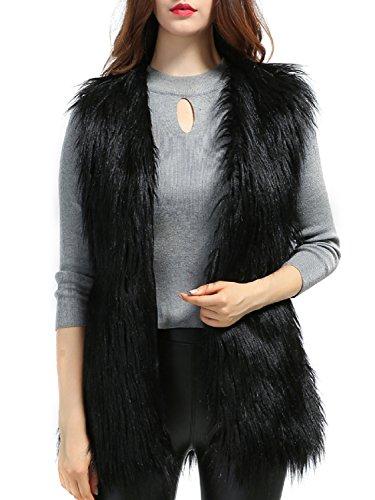 PERSUN Women's Faux fur Waistcoat Vest Sleeveless Jacket,Black,XXL