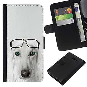 EJOY---La carpeta del tirón la caja de cuero de alta calidad de la PU Caso protector / Sony Xperia M2 / --Raza del perro de Saluki Hound Gafas Pérsico