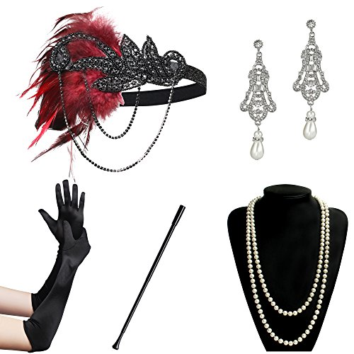 (BABEYOND 1920s Accessories Flapper Costume 5 in 1 1920s Costume Set for Great Gatsby Party)