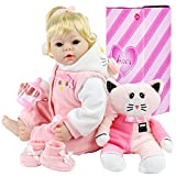 Aori Realistic Baby Doll 22 Inch Lifelike Weighted Reborn Baby Girl Doll with Pink Kitty Clothes and Accessories