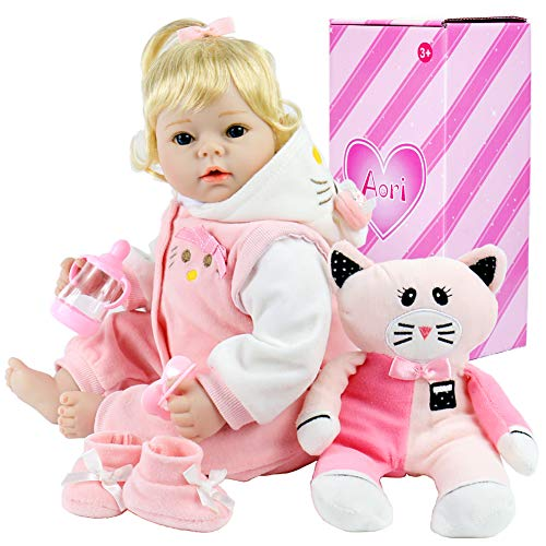Aori Realistic Baby Doll 22 Inch Lifelike Weighted Reborn Baby Girl Doll with Pink Kitty Clothes and Accessories -