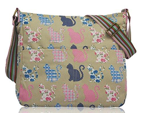 Beige Kitty Canvas Patterns Animals amp; Bag Print Kukubird Various Crossbody wPzqcga