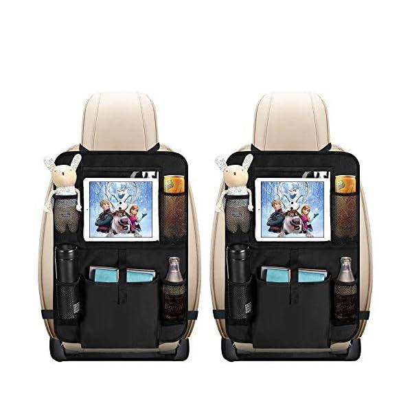 51Cujy7cziL Auto Rückenlehnenschutz, opamoo 2 Stück Auto Rücksitz Organizer für Kinder, Große Taschen und iPad-/Tablet-Fach…