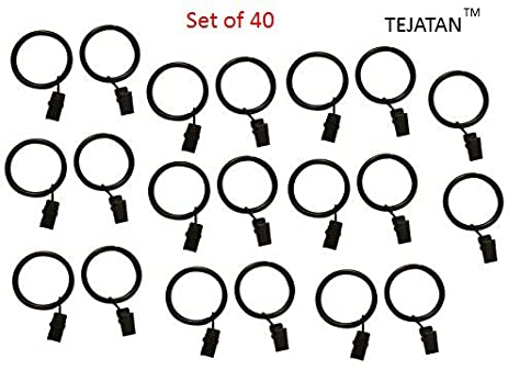 2 Inch, Set Of 40 Metal Curtain Rings With Clips And Eyelets   Black