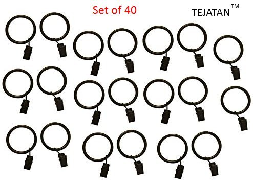 TEJATAN - 2 Inch - Set of 40 - Metal Curtain Rings with Clips and Eyelets (Also Known as Rings with Curtain Clips/Curtain Clip Rings/Drapery Rings)