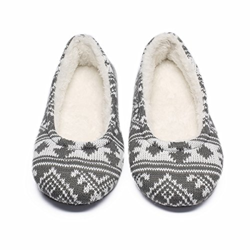 Ofoot Women's Acrylic Fibers Jacquard Ballerina Slippers with Snowflake Patterns (Medium / 7-8 B(M) US, Grey)