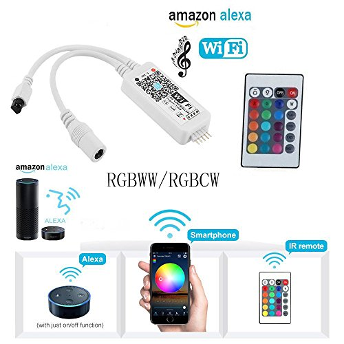 BJH WiFi RGBW(CW+WW) LED Smart Controller Working with Alexa,Google Home, IFTTT for 5050 3528 2835 LED Light Strip Comes With a 24 Keys Remote Control, Fits for Android IOS System Mobile Phone App - Gorgeous Box
