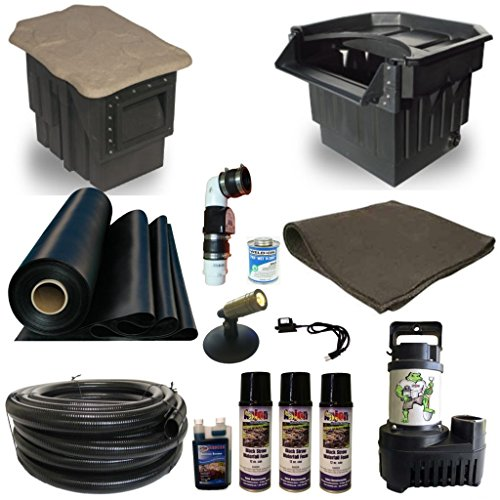 Half Off Ponds' LP8 - 15 ft x 20 ft Large PondBuilder Pond Kit w/ 5,500 GPH Pump, PondBuilder Elite 22 Inch Waterfall, & Skimmer
