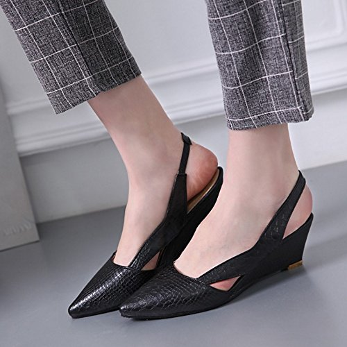 TAOFFEN Women Fashion Closed Pointed Toe Slingback Wedge Heel Sandals Shoes Black Y925kpMysJ