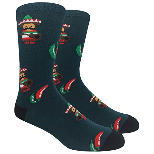 Urban-Peacock Men's Novelty Fun Socks Multiple Themes (Chilli Peppers - Green with Black, 1 Pair)