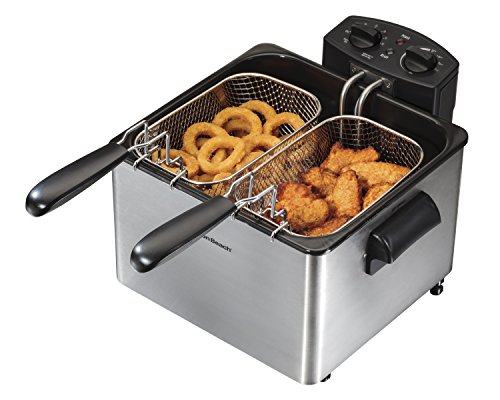Hamilton Beach Deep Fryer with 2 Frying Baskets, 19 Cups / 4.5 Liters Oil Capacity, Lid with View Window, Professional Grade, Electric, 1800 Watts, Stainless Steel (35036)