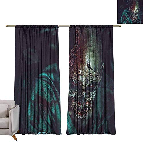Window Curtain Drape Zombie,Man Shot in Head with Bloody Details Fearful Monster Design Vampire Fantasy Print, Multicolor W72 x L96 Room Darkening Wide Curtains