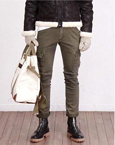 Happyshop (tm) In Pelle Moda Uomo Martin Stivali Cerniera Scarpe Da Moto Stivali Da Caccia Allaperto Nero
