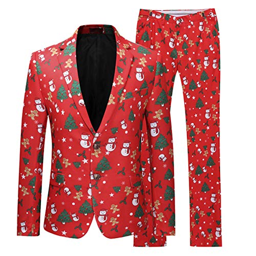Mens Christmas Suits Two Button Slim Fit 2 Piece Set in Funny Prints