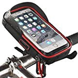 SROMEZ Bike Handlebar Bag Waterproof Bike Bicycle Phone Mount Holder with Water Resistant Cycling Frame Bag below 6 inch,Red