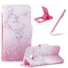Strap Leather Case for Samsung Galaxy A3 2017 A320,Flip Portable Carrying Case for Samsung Galaxy A3 2017 A320,Herzzer Premium Stylish Pink Marble Printed Foldable Full Body Folio Pu Leather Stand Cover with Card Slots