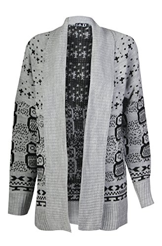 Forever Women's Long Sleeves Owl Print Knitted Cardigan