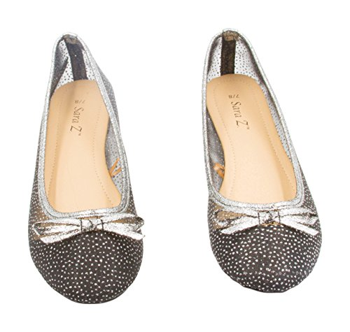 Sara Z Ladies Starry Glitter Mesh Ballet Flat Slip On With Bow, (See More Colors and Sizes) Black