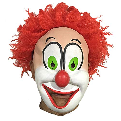 Latex Smiling Redhead Clown Mask Head Set Halloween Party Costume Decorative Mask ()