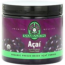 SAMBAZON Organic Freeze-Dried Acai Powder, Antioxidant Superfood, 90-Gram Jar (5-Pack)