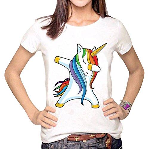 Yuncai Manica Stampato Personalit Maglietta Donna Corta Unicorno Sciolto pwqp68