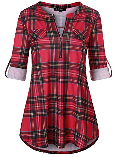 (Plaid Shirts Tops for Women, Ladies Long Sleeve Tunic Casual Fashion Pinstripe Split Zipper Lightweight Soft Tunic Tops Fake Pocket Pullover Red)