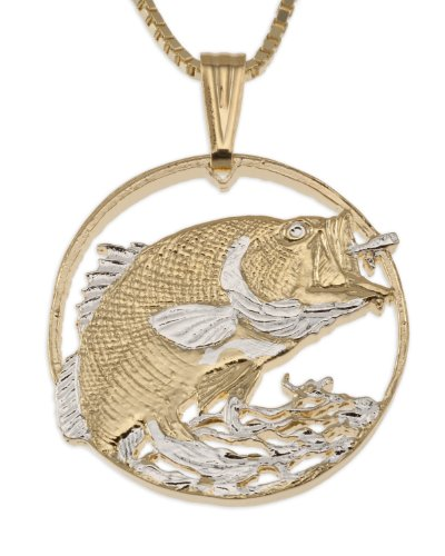 Large Mouth Bass Pendant & Necklace, Hand Cut Bass Medallion