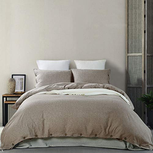 MUKKA 3 Pieces Heather Yarn Dyed Cotton Linen-Like Chambray Modern Simple Style Coconut Buttons Closure Duvet Cover Bedding Set Soft Luxuy Bed Linen (Khaki Heather, King) (3 Medium Beige Linen)