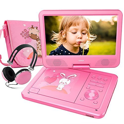 FUNAVO 10.5'' Portable DVD Player with Headphone, Carring Case, Swivel Screen, 5 Hours Rechargeable Battery, SD Card Slot and USB Port  (Pink) by FUNAVO