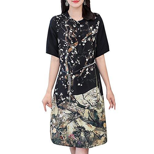 DISSA Schwarz Gestreift Seide Übergröße Kleider Cocktail Damen Abendkleid Midi S1811 Kleid p6r4p