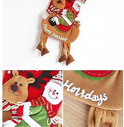 Set de 2 medias de Navidad dibujos animados arte belleza interior decoración de regalo de Navidad bolsas de dulces calcetines calcetín de Papá Noel Muñeco ...
