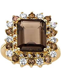 Emerald-Cut Genuine Smoky Topaz and CZ Accent 14k Gold-Plated Halo Cocktail Ring