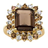 Palm Beach Jewelry Emerald-Cut Genuine Smoky Topaz CZ Accent 14k Gold-Plated Halo Cocktail Ring