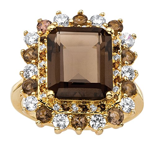 (Palm Beach Jewelry 14K Yellow Gold-Plated Emerald Cut Genuine Topaz and Cubic Zirconia Ring Size 6 )